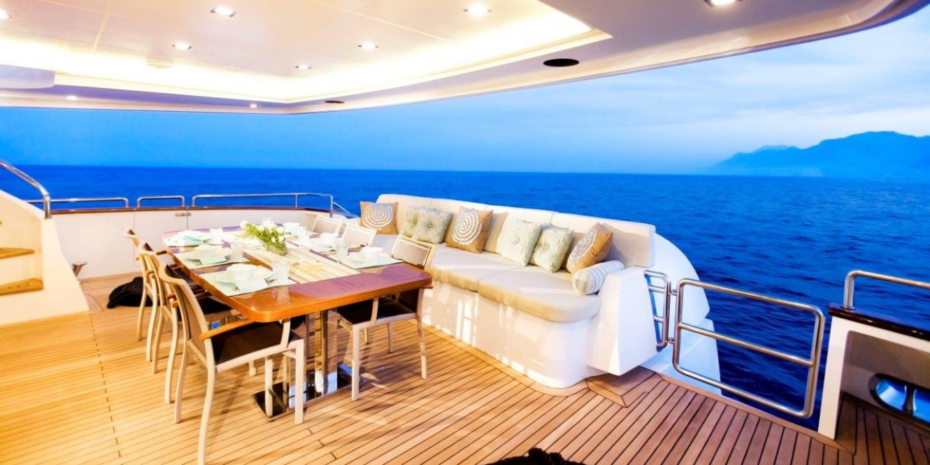 Motoryacht Sunkiss 7 Aft Deck at night