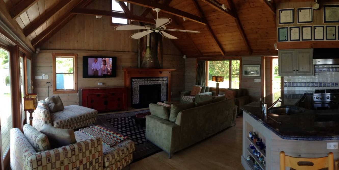Little Peconic panoramic kitchen and living room