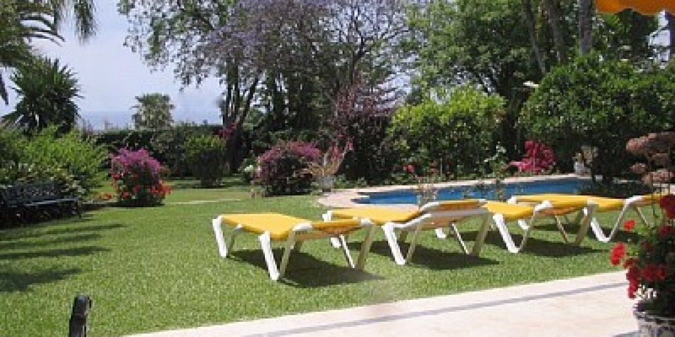 Pretty garden and pool zone of Villa Princesa in Marbella